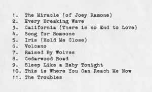 Track listing U2