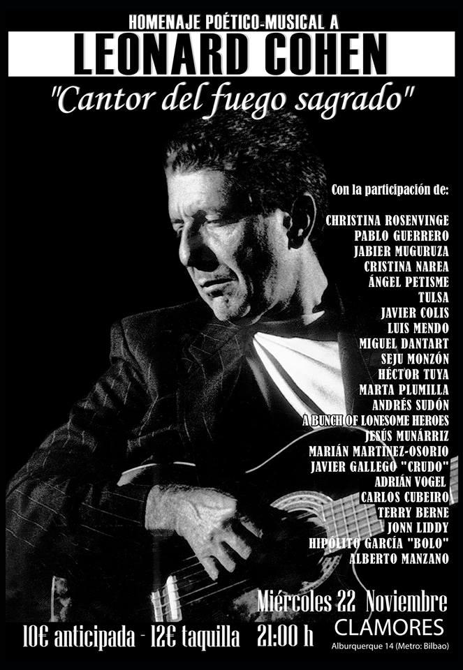Miércoles 22 nov. Homenaje a LEONARD COHEN en Madrid. copia